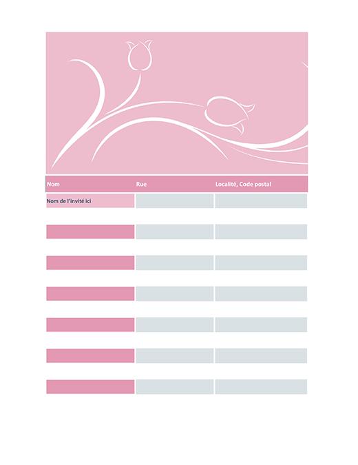 Liste des invités au mariage (modèle tulipe)