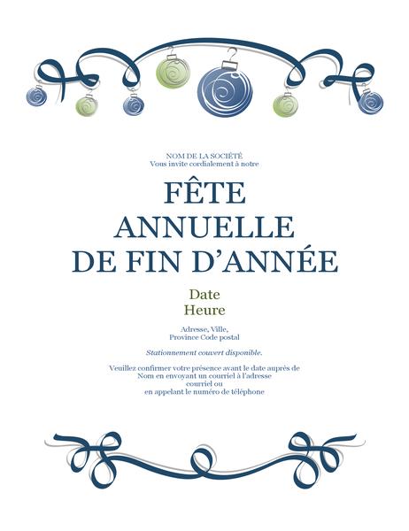 Prospectus de fête de fin d'année avec ornements et ruban bleu (conception formelle)