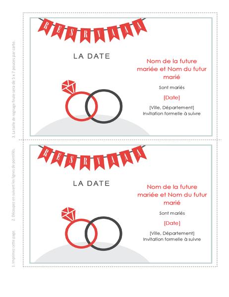 Carte d'annonce de la date d'un mariage