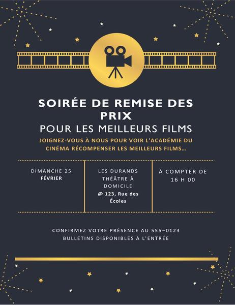 Invitation à la soirée de remise des prix pour les meilleurs films