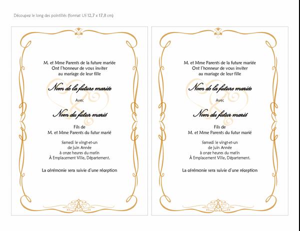 Invitations au mariage (création Cœurs baroques, taille a7, 2 par page)