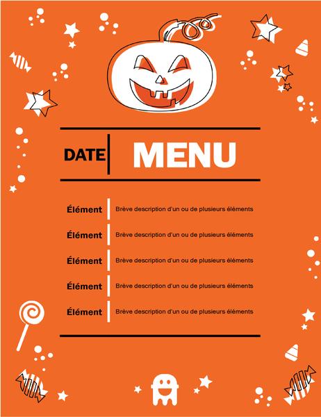 Menu fête d'Halloween