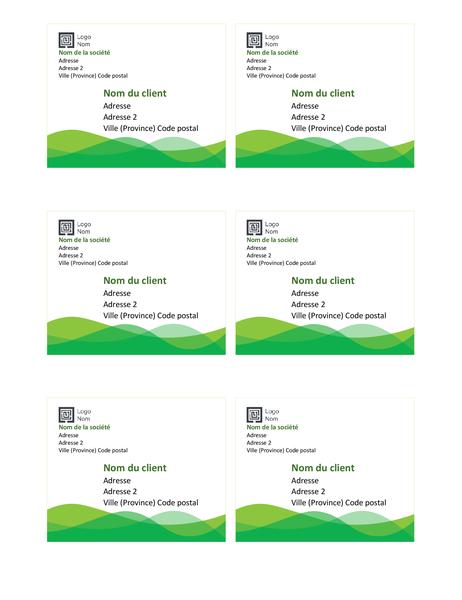 Étiquettes d'expédition (conception Vague verte, 6 par page)