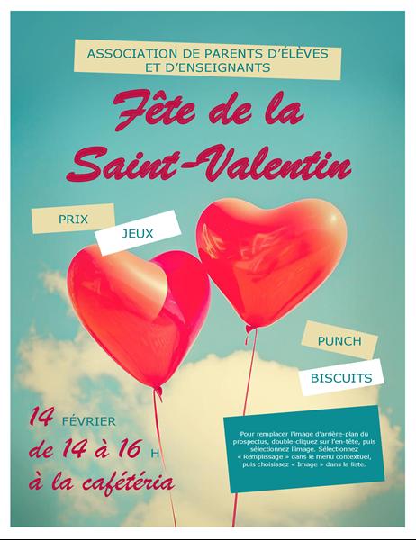 Prospectus de la Saint-Valentin avec ballons en forme de coeur