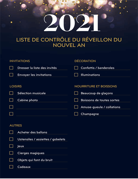 Liste de contrôle de fête du nouvel an