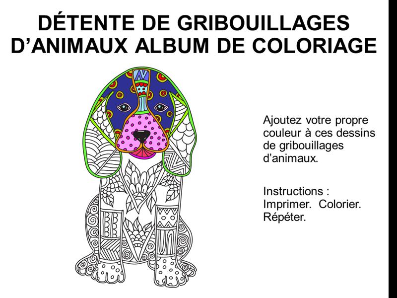 Gribouillis d'animaux : album de coloriage de détresse