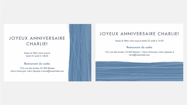 Invitations à une fête Ruban bleu (deux par page)