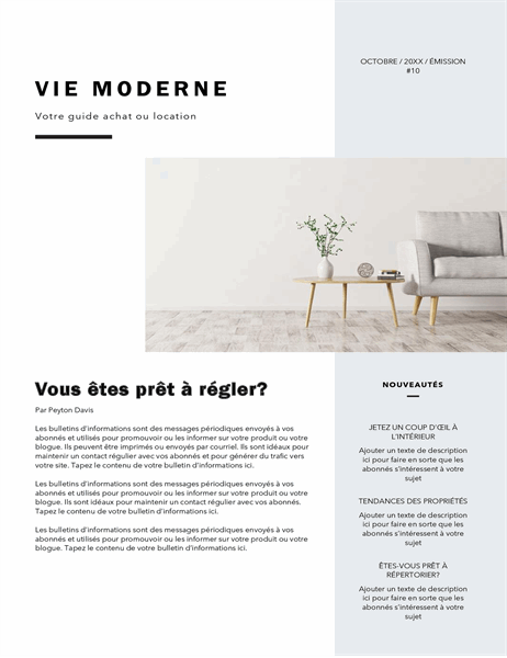 Bulletin d'informations – Agent immobilier