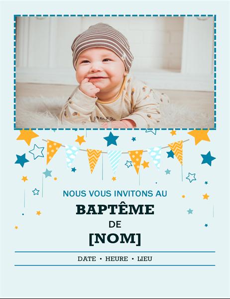 Invitation avec photo à un baptême