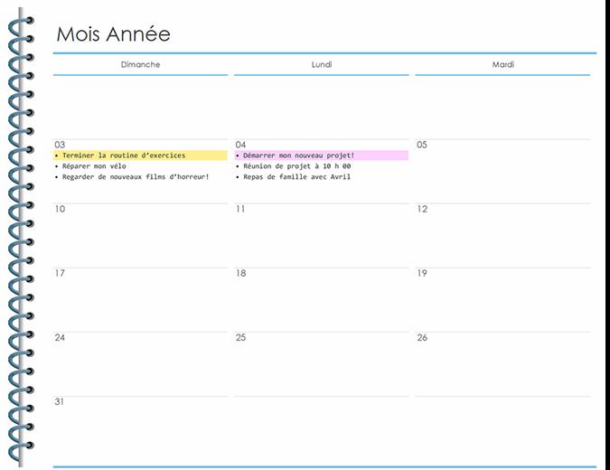 Planificateur personnel mensuel