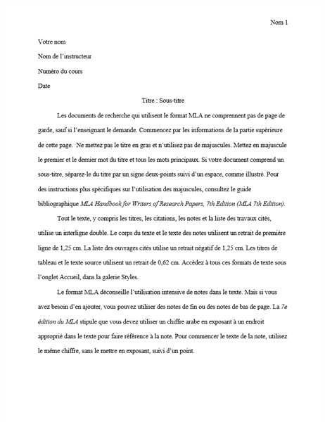 Document de style MLA