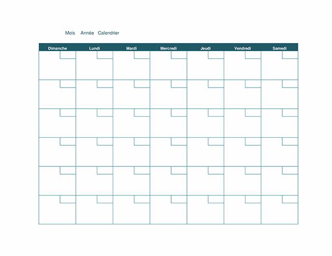 Calendrier mensuel vierge