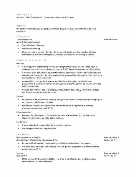 CV pour jeune diplômé