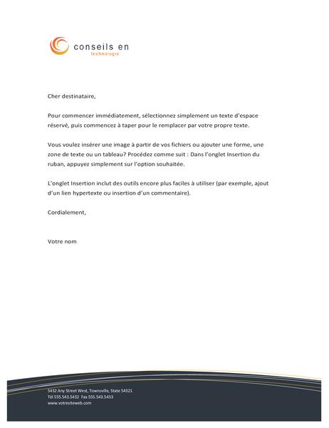 En-tête de lettre pour une entreprise en technologie