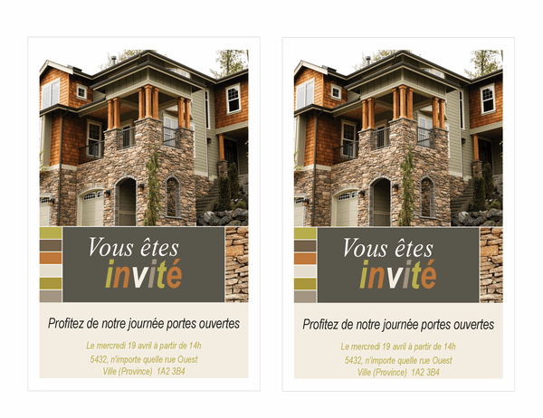 Invitation portes ouvertes en immobilier (2 par page)