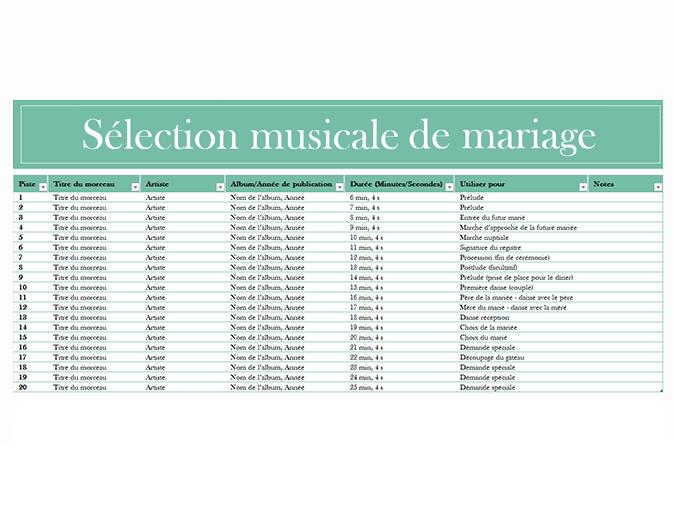 Sélection musicale pour un mariage