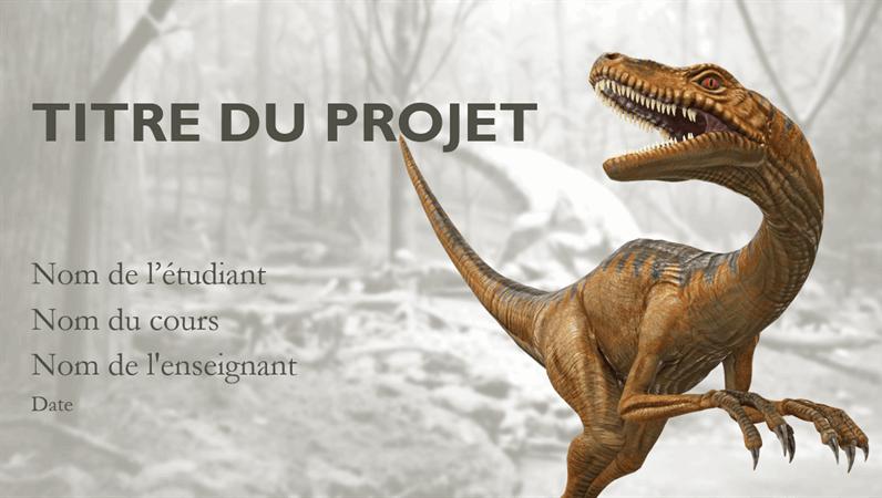 Présentation de rapport scolaire avec des modèles de dinosaures