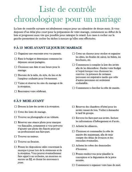 Liste de contrôle chronologique pour un mariage
