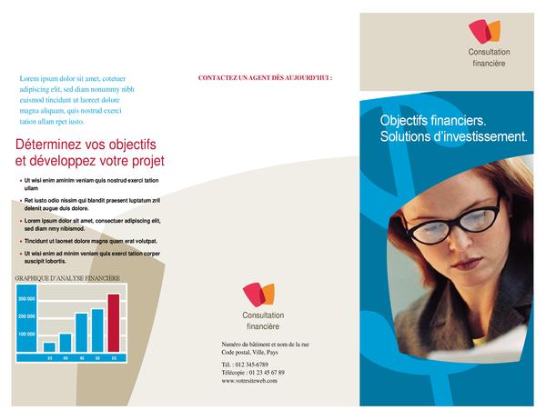 Brochure d'entreprise financière (dépliant à trois pages)