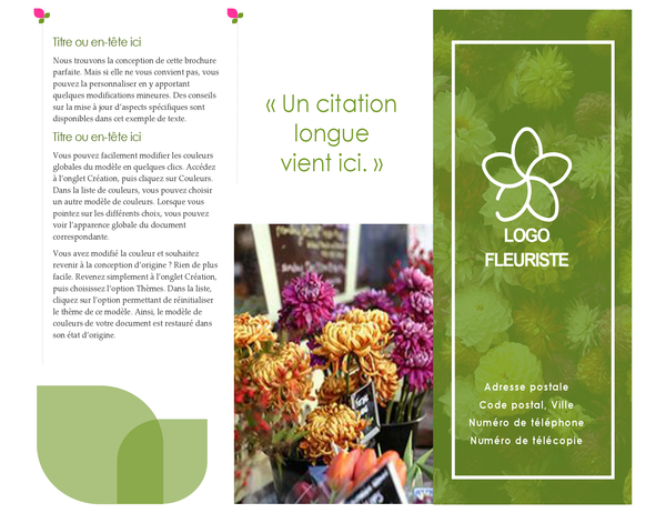 Brochure fleuriste