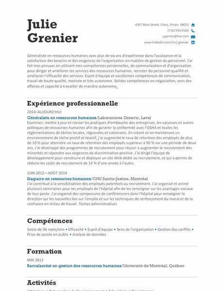 CV de poste en ressources humaines