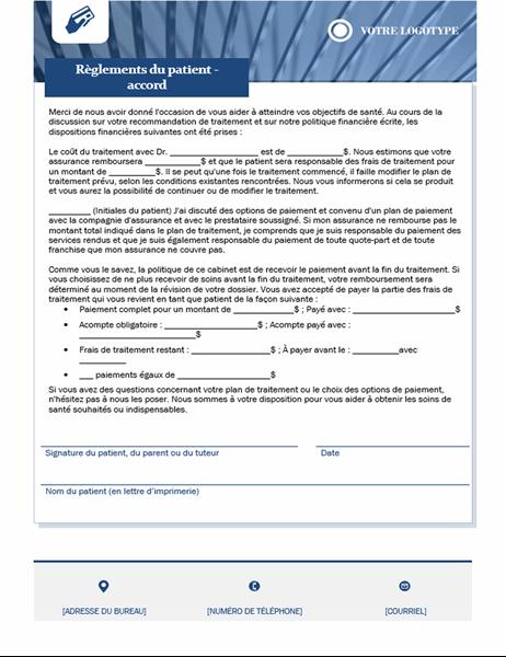 Contrat de paiement des patients pour les soins de santé