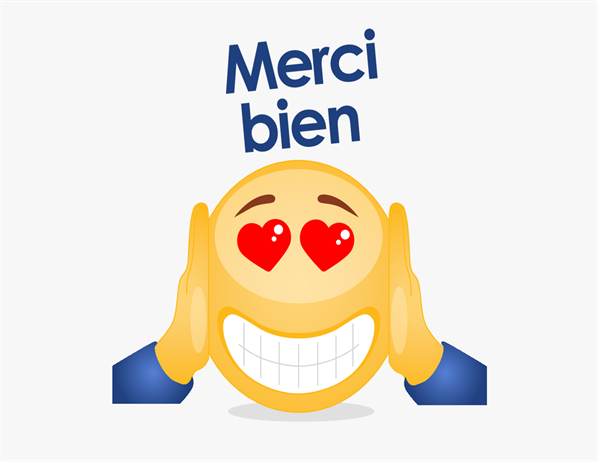 Carte de remerciement avec emoji