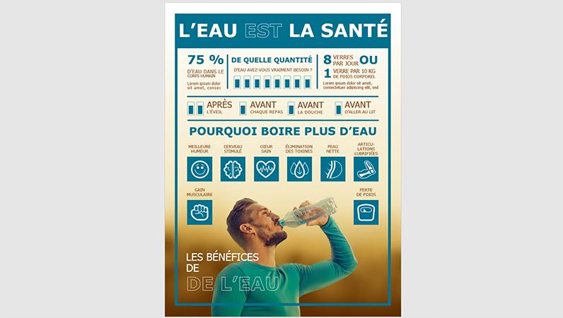 Affiche d'infographie Boire de l'eau