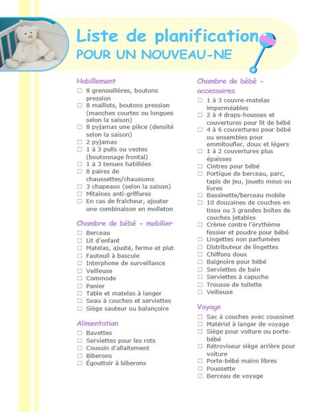 Liste de contrôle de planification en vue de l'arrivée d'un nouveau-né