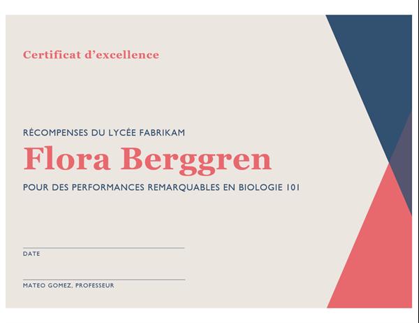 Certificat d'excellence d'école secondaire