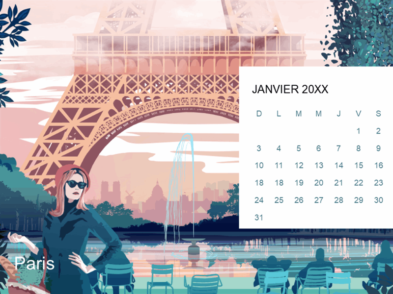 Calendrier mensuel Paysages urbains