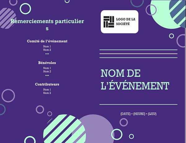 Programme concernant l'événement d'entreprise