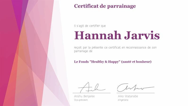 Certificat de reconnaissance coloré