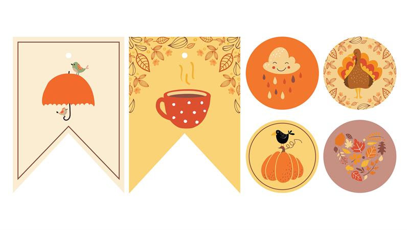Décorations imprimables pour soirée sur le thème de l'automne