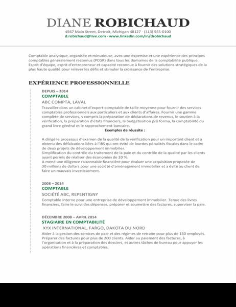 CV de comptable