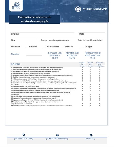 Évaluation des employés et révision des salaires - Petite entreprise