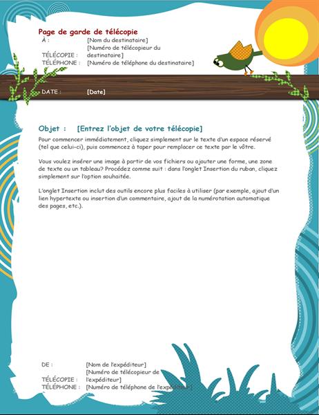 Page de garde de télécopie Oiseau de dessin animé