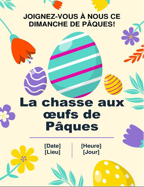 Feuillet chasse aux œufs de Pâques aux couleurs du printemps