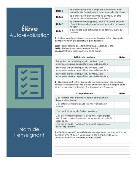 Auto-évaluation d'étudiant