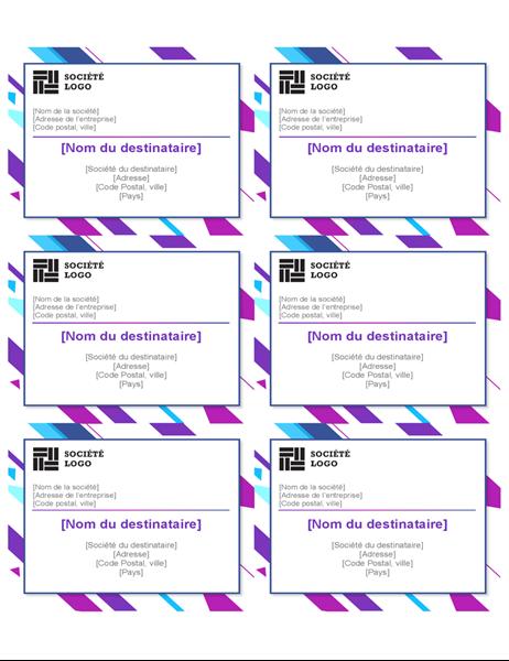 Étiquettes graphiques violettes (6 par page)