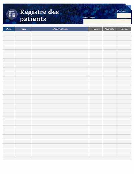 Formulaire de registre des patients pour les soins de santé