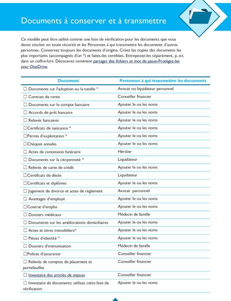 Liste de vérification Documents à conserver et à transmettre