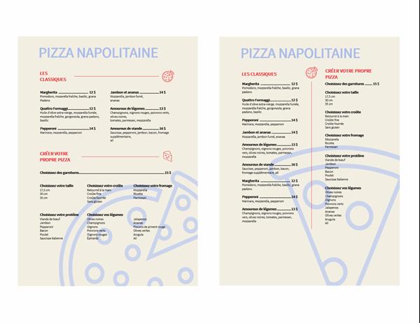 Menu de pizzas