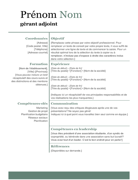 CV moderne de base