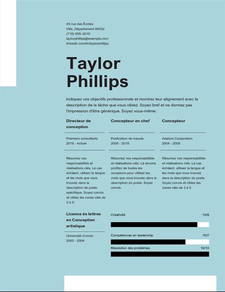 CV propre et élégant