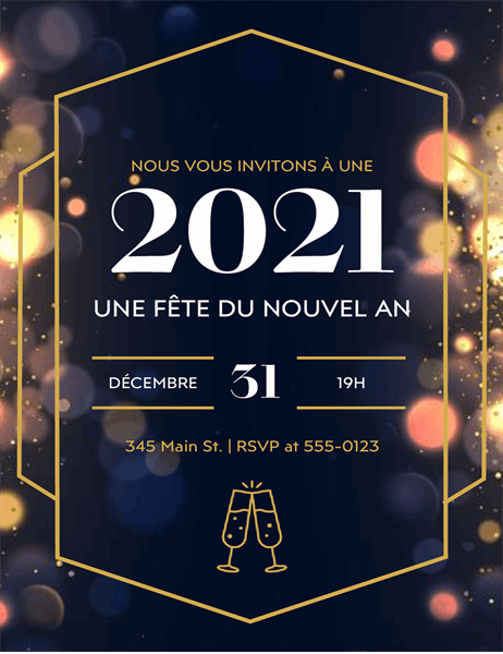 Invitations pour le réveillon du Nouvel An