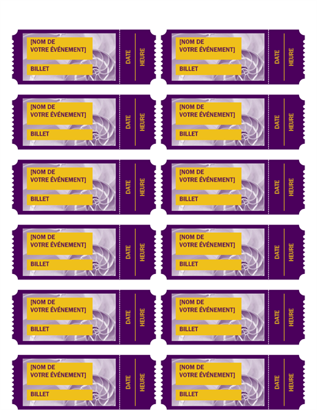Billets pour événement violets