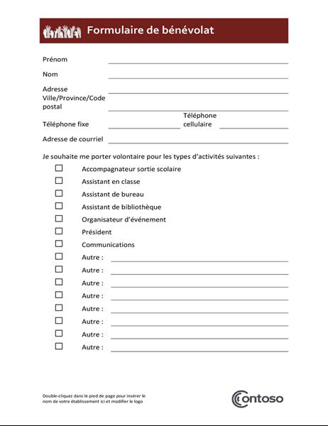 Formulaire de bénévolat