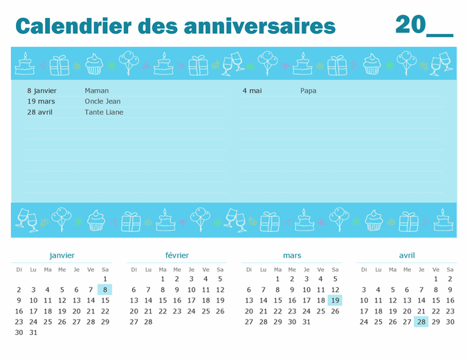 Calendrier des anniversaires avec mise en évidence