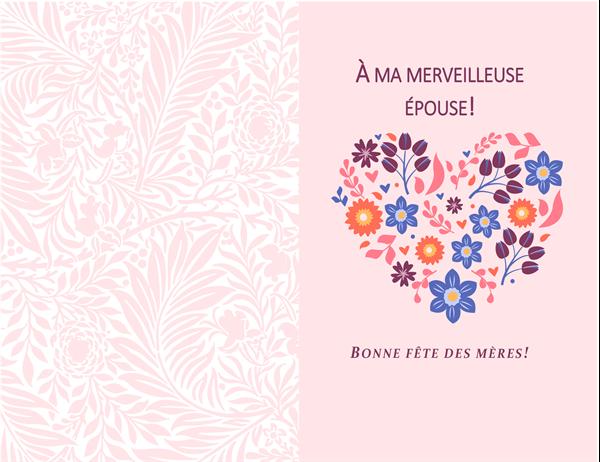 Carte de fête des mères, cœur fleuri